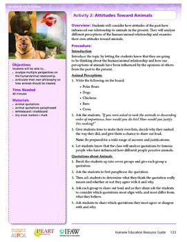HEART Humane Education: Attitudes Towards Animals (Activity 2, Gr. 9-12)