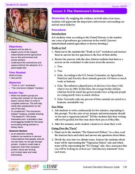 HEART Humane Education: The Omnivore's Debate (Lesson 3, G