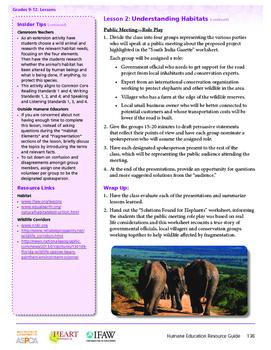 HEART Humane Education: Understanding Habitats (Lesson 2, Gr. 9-12)