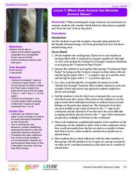 HEART Humane Education: When does Animal Use become Animal Abuse? (L5, Gr. 9-12)