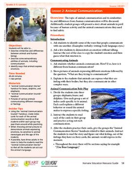HEART Humane Education: Animal Communication (Grades 3-5 Lesson 2)