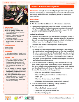 HEART Humane Education: Animal Investigators (Grades 3-5 Lesson 3