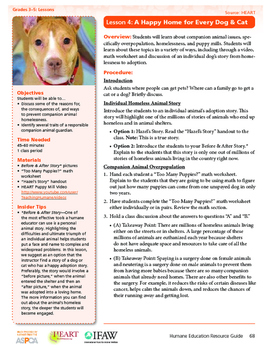 HEART Humane Education: A Happy Home For Every Dog & Cat (Grades 3-5 Lesson 4)