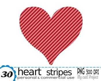 HEART Stripes | Clipart | 30 png files | Scrapbooking Clip art | CA13