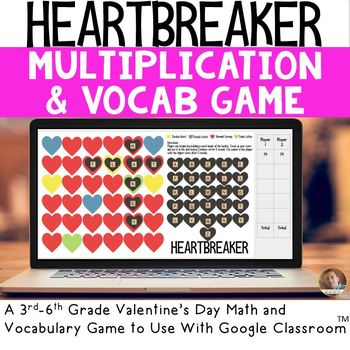 HEARTBREAKER Digital Valentine's Day Math and Vocab Game for Grades 3-6