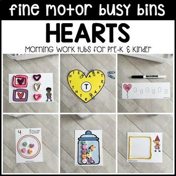 HEARTS Fine Motor Busy Bins -Valentine's Day morning work tubs- Preschool, Pre-K