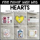 HEARTS Fine Motor Busy Bins -Valentine's Day morning work