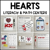 HEARTS Literacy & Math Centers for Valentine's Day (Preschool, PreK, Kinder)