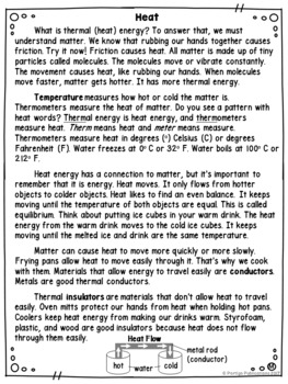 HEAT ENERGY Differentiated Science Passages: Energy Series