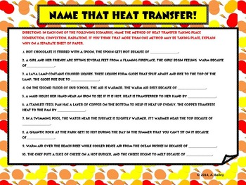 Test Prep: HEAT TRANSFER METHODS: CONVECTION, CONDUCTION, AND RADIATION