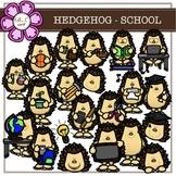 HEDGEHOG - SCHOOL digital clipart (color and black&white)