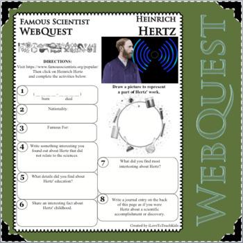 HEINRICH HERTZ Science WebQuest Scientist Research Project Biography Notes