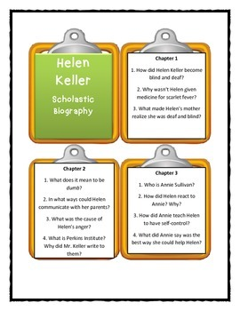 HELEN KELLER Scholastic Biography by Margaret Davidson - Discussion Cards