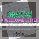 HELLO! | A *Meet the Teacher* Welcome Letter & Simple Syllabus