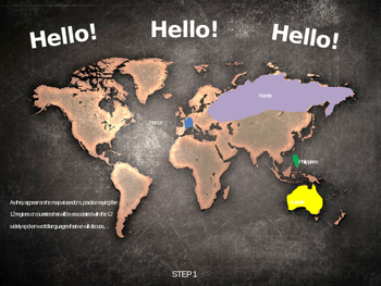 HELLO! in 12 languages: Fun, Interactive 40-slide PPT with map handout