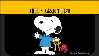 HELP WANTED! ( Peanut Themed Digital Classroom Job Chart)