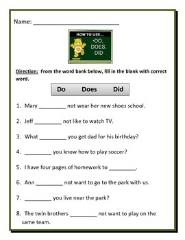 HELPING VERBS DO, DID, DOES - 4 pages of 8 questions on each page.