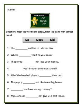HELPING VERBS DO, DID, DOES - 4 pages of 8 questions on ea
