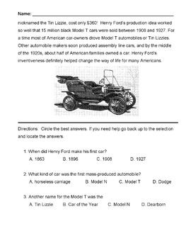 HENRY FORD Biography (Model T, Assembly Line) + 13 M.C. Reading Comprehension Qs