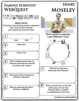 HENRY MOSELEY - WebQuest in Science - Famous Scientist - Differentiated