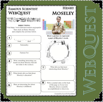 HENRY MOSELEY Science WebQuest Scientist Research Project Biography Notes