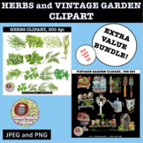 HERBS AND VINTAGE GARDEN BUNDLE CLIPART, STICKERS, BULLETI