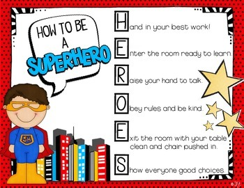HERO Behavior - Editable Behavior Expectations - Superhero Themed