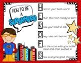 HERO Behavior - Editable Behavior Expectations - Superhero Themed