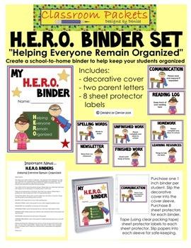 H.E.R.O. School-to-Home Communication Binder Set