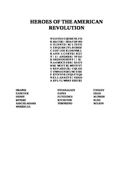 HEROES OF THE AMERICAN REVOLUTION WORD SEARCH