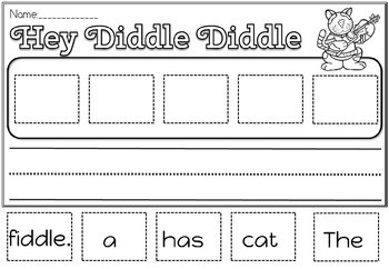 HEY DIDDLE DIDDLE SENTENCES AND WORD WHEEL