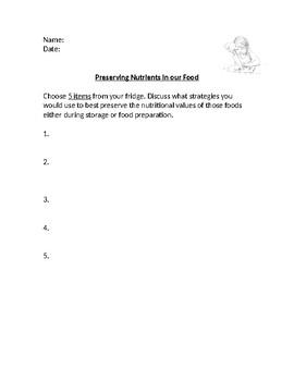 HFA4U - Preserving Nutrients in our Food Worksheet