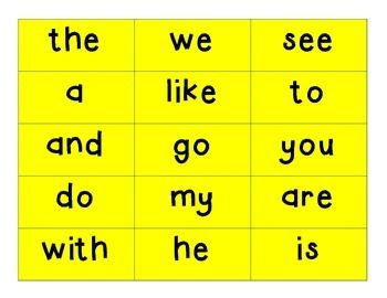 HFW FRY Kindergarten Word Cards for READING WONDERS