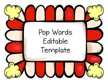 HFW Pop Words Editable Template