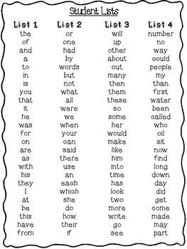 HFW (Sight) Word Practice Lists