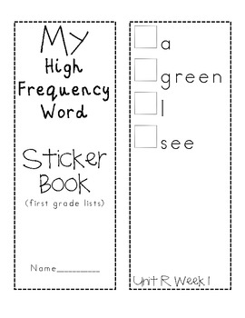 HFW Sticker Book for Reading Street First Grade