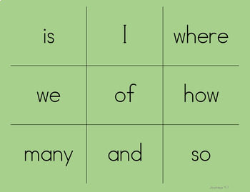 High Frequency Word/Sight Word Tic-Tac-Toe (Journeys Aligned)