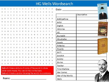 HG Wells Wordsearch Puzzle Sheet Keywords Author English Literature
