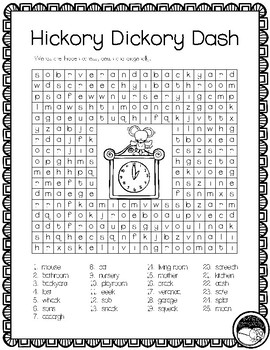 HICKORY DICKORY DASH ~ 2 word searches slueths
