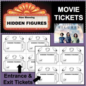 HIDDEN FIGURES Movie Film Entrance & Exit Tickets Slips