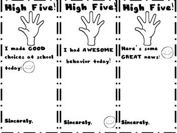 HIGH FIVE! Positive Behavior Notes for Home