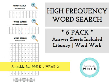 HIGH FREQUENCY WORD SEARCH - *PACK OF 6* - Word Work - Lit