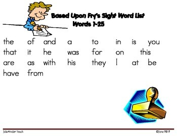 HIGH FREQUENCY WORD WORK **STAMP & WRITE **FRY WORDS 1-25