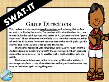 HIGH FREQUENCY WORDS - swat it game #1-20