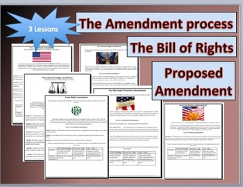 HIGH SCHOOL-3 Lessons based upon the  Bill of Rights and A