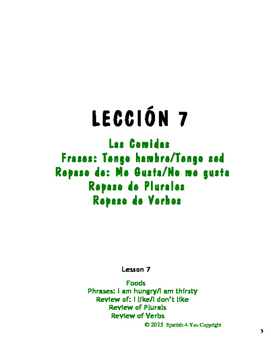 HIGH SCHOOL - LESSON 7 - FOODS