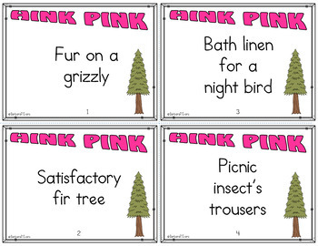 FOREST ANIMALS: Forest / Woodland Hink Pinks +, Task Cards, Vocabulary, HOTS