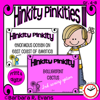 HINKITY PINKITIES Set III Critical Thinking Vocabulary Development GATE