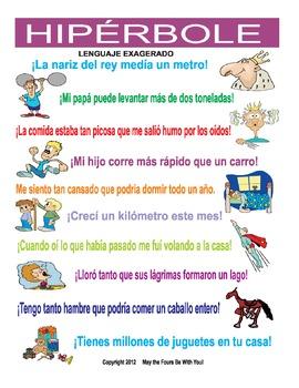 Exaggeration Hyperbole Poster Figurative Language in Spanish (hiperbole)