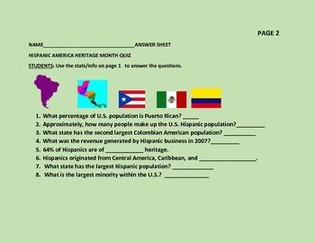 HISPANIC AMERICAN FACT SHEET/ QUIZ
